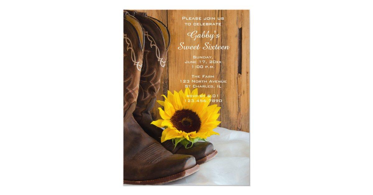 Sunflower Cowboy Boot Sweet 16 Barn Birthday Party Card