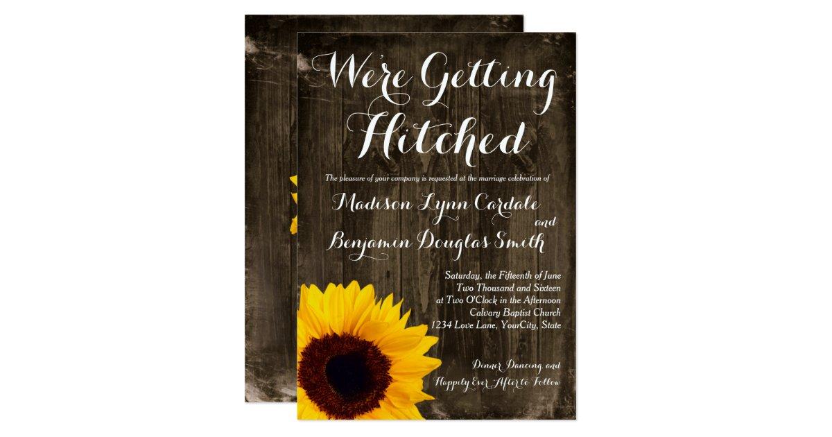 Hitched Wedding Invitations: Sunflower Wood Getting Hitched Wedding Invitations