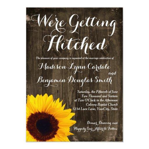 "Hitched Wedding Invitations: Sunflower Wood Getting Hitched Wedding Invitations 4.5"" X"