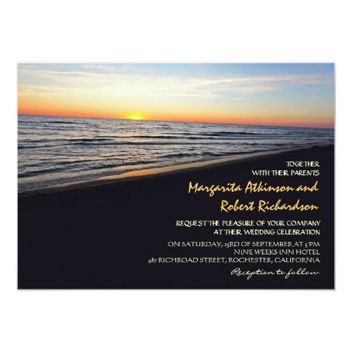Sunset Beach Wedding Ideas: Sunset Beach Sea Wedding Invitations