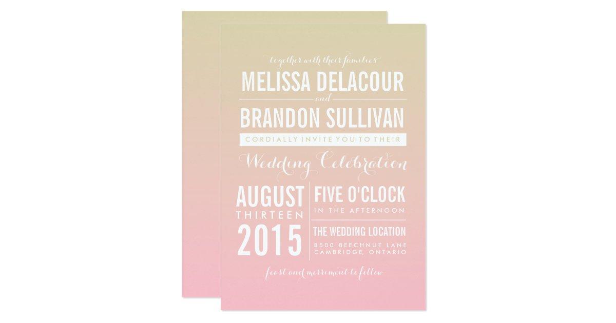 Ombre Wedding Invitation: Sunset Ombre / Gradient Beach Wedding Invitations