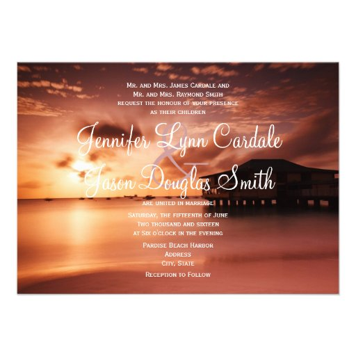 "Sunset Beach Wedding Ideas: Sunset On Beach Harbor Marina Wedding Invitations 4.5"" X 6"