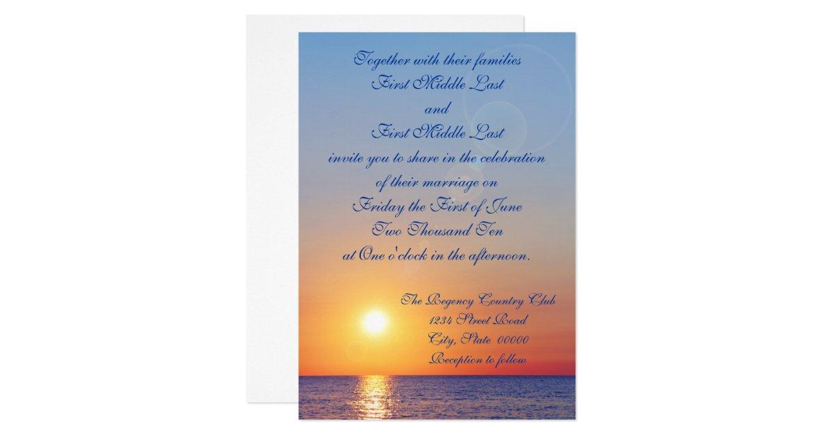 Sunrise Wedding Invitations: Sunset Wedding Invitation