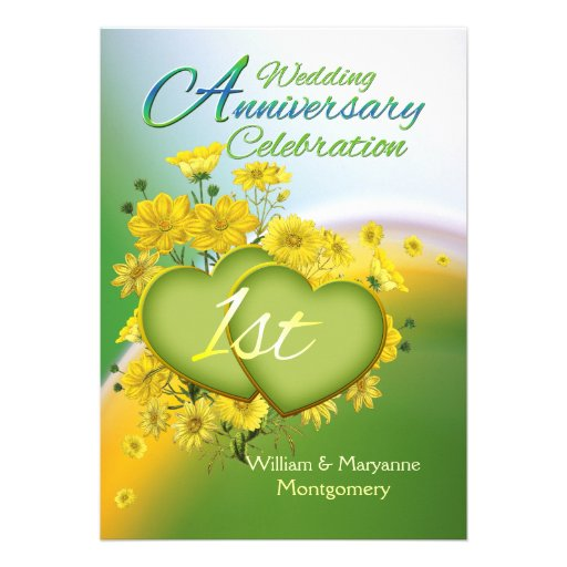 "First Wedding Anniversary Celebration Ideas: Sunshine Love 1st Wedding Anniversary Party 5"" X 7"
