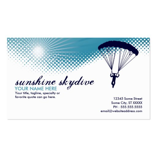 Skydive Business Card Templates Bizcardstudio
