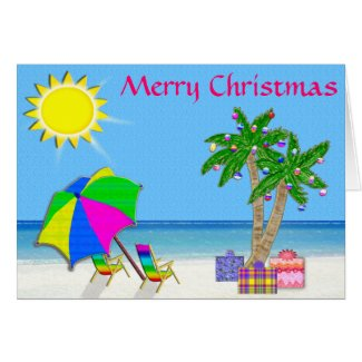 Super Cheery and Pretty Beach Christmas Cards