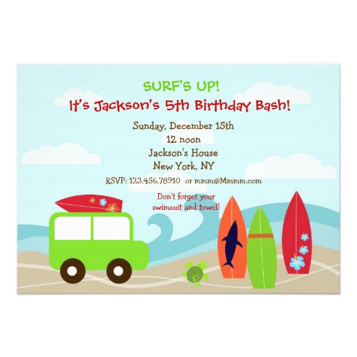 Personalized Surf Baby Shower Invitations