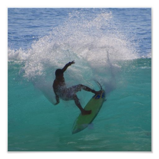 Surfing At A Big Wave Poster