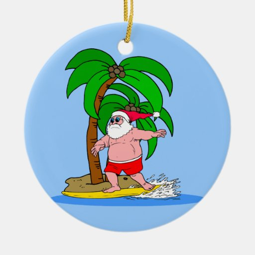 Surfing Santa Claus Christmas Tree Ornaments