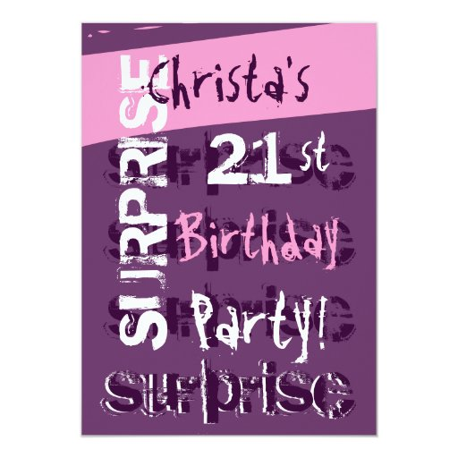 SURPRISE 21st Birthday Party Purple Pink Template 5x7