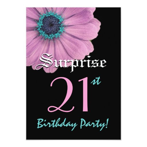 "SURPRISE 21st Birthday Template Pink Daisy 5"" X 7"