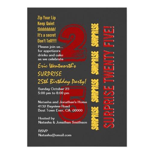 SURPRISE 25th Modern Birthday Red Gold Gray Custom Invites