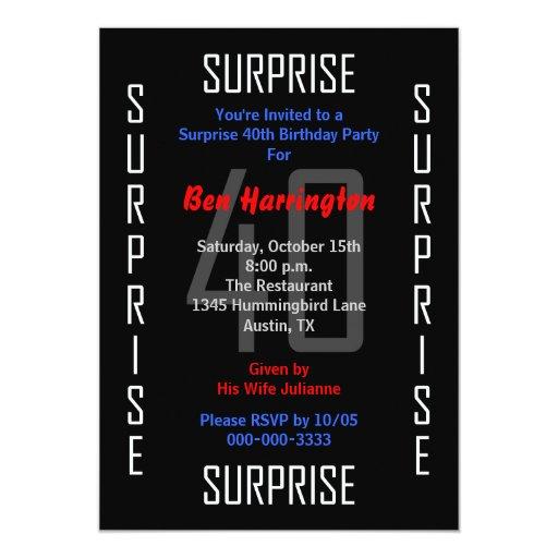 Surprise 40th Birthday Party Invitation 40
