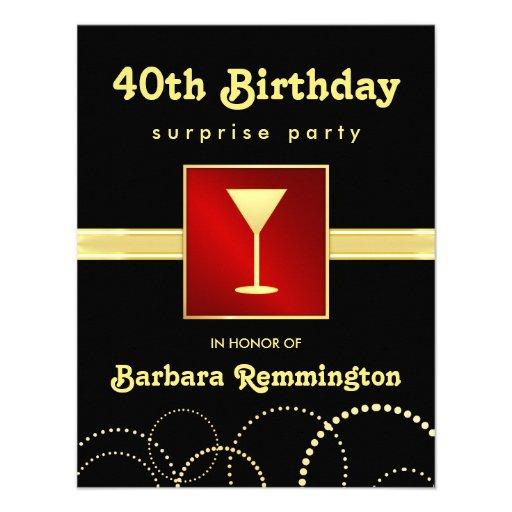"Surprise 40th Birthday Red Black Gold Invitations 4.25"" X"