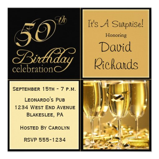 50th birthday party surprise invitations invitation gold zazzle templates elegant anniversary fifty fiftieth 80th 60th birthda wine personalized own