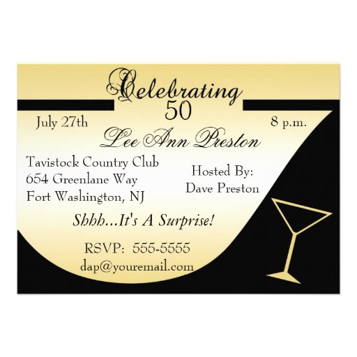 """Surprise 50th Birthday Party Invitations 5"""" X 7"""