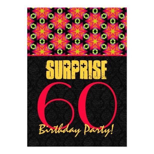 60th Birthday Color Ideas: SURPRISE 60th Birthday Party Festive Colors Custom Invites