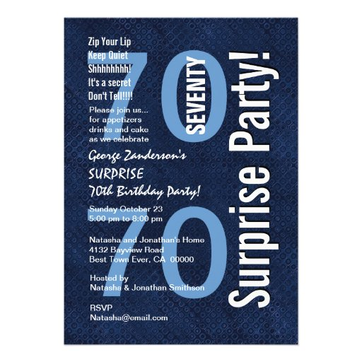 SURPRISE 70th Birthday Modern Royal Blue R604 Custom Invites