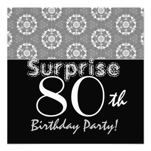 SURPRISE 80th Birthday Black Silver Flower Stars Announcements