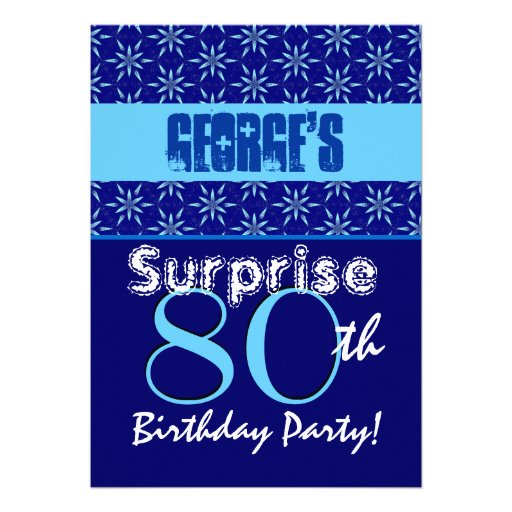 SURPRISE 80th Birthday Blue Stars W1431 Personalized Invitation