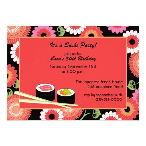 Personalized Sushi Food Invitations