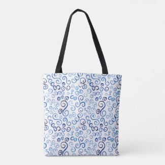All-Over-Print Prussian Blue Watercolor Curves Tote Bag