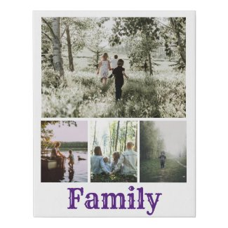 Personalized Photo and Text Photo Collage Family Faux Canvas Print