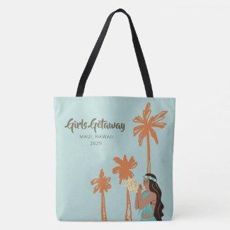 Personalized Girls Getaway Hawaiian Tote Bag