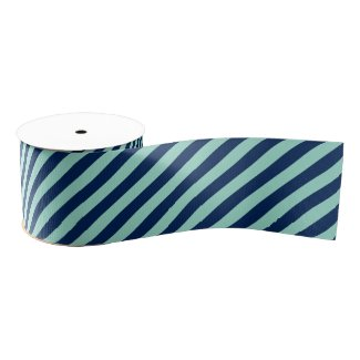 Angled Light Green and Navy Stripes Grosgrain Ribbon