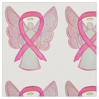 Pink Awareness Ribbon Breast Cancer Angel Fabric