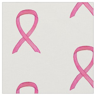 Pink Awareness Ribbon Art Breast Cancer Fabric