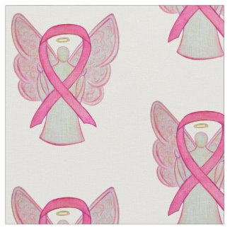 Pink Awareness Ribbon Breast Cancer Angel Material Fabric