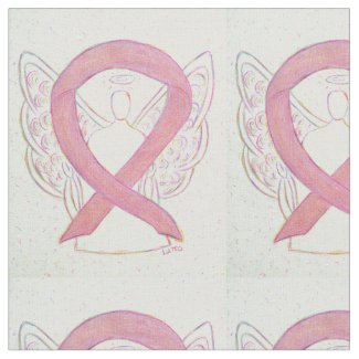Pink Awareness Ribbon Angel Fabric Material