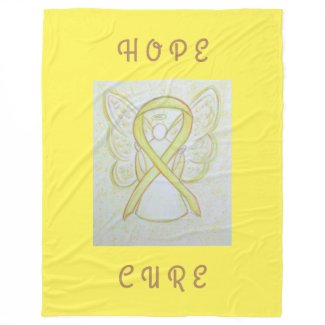 Yellow Awareness Ribbon Angel Chemo Fleece Blanket