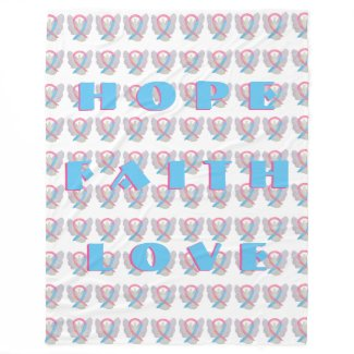 Blue and Pink Awareness Ribbon Angel Chemo Blanket
