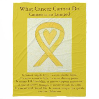 Yellow Awareness Ribbon Bone Cancer Heart Blanket