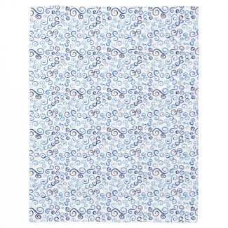 Abstract Light to Dark Blue Curve Pattern Fleece Blanket