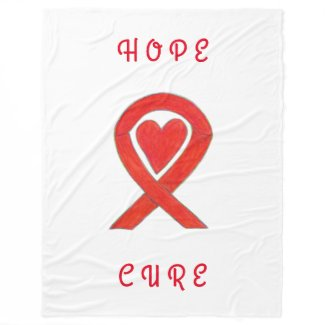 Red Awareness Ribbon Heart Custom Fleece Blankets