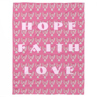 Breast Cancer Pink Awareness Ribbon Angel Blanket