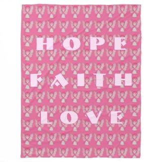 Breast Cancer Pink Awareness Ribbon Angel Blanket