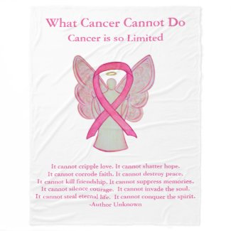Pink Awareness Ribbon Angel Cancer Chemo Blanket