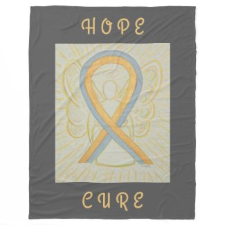Gray and Gold Awareness Ribbon Angel Chemo Blanket