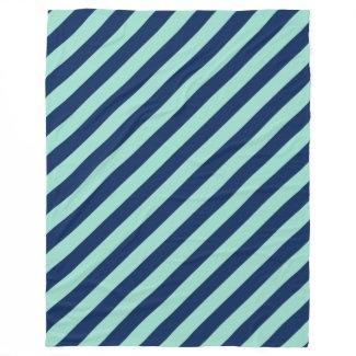 Diagonal Beach Stripes, Seafoam Green and Navy Fleece Blanket