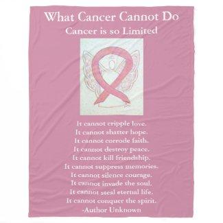 Pink Awareness Ribbon Cancer Angel Chemo Blanket