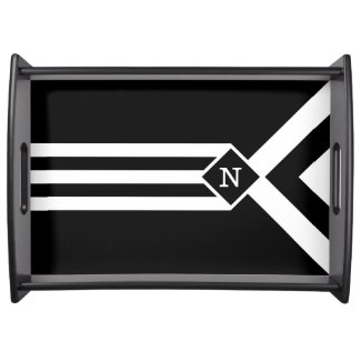 White Stripes and Chevrons on Black with Monogram Serving Tray