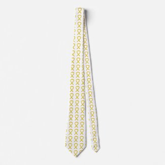 Yellow Awareness Ribbon Customized Art Apparel Tie