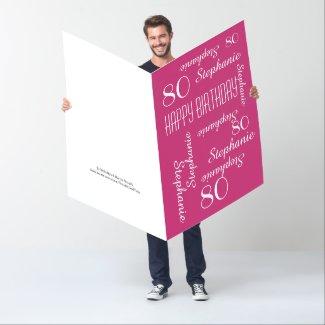 Customized JUMBO HUGE Hot Pink Any Age Birthday Card
