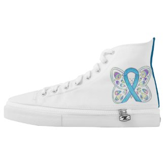 Blue Butterfly Awareness Ribbon Custom Shoes