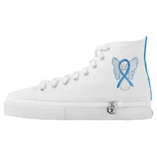 Light Blue Awareness Ribbon Angel Custom Shoes