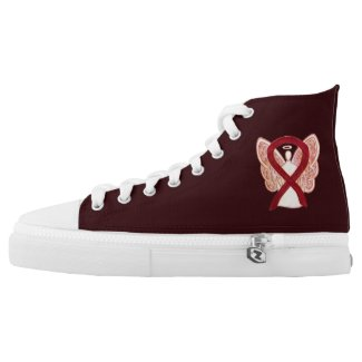 Burgundy Awareness Ribbon Angel Design Shoes